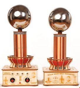 Teslov generator oddaja Teslove skalarne valove - Profesionalna in baterijska Teslova fontana